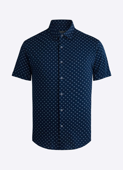 Bugatchi | Short Sleeve Knit Shirt | Navy Floral