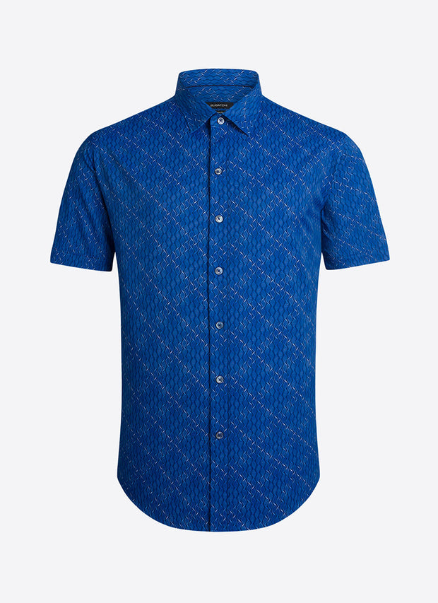 Bugatchi | Short Sleeve Perform Shirt | Alfa Blue