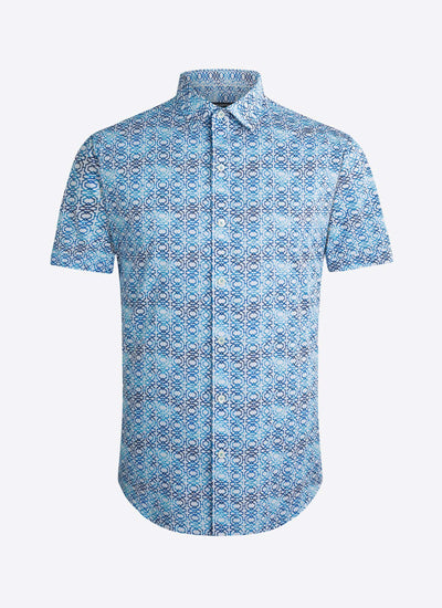 Bugatchi | Short Sleeve Woven Shirt | Grecian Blue