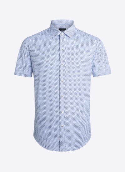 Bugatchi | Short Sleeve Perform Shirt | Classic Blue