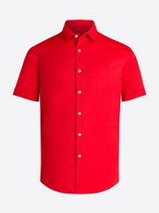 Bugatchi | OOOHCOTTON TECH SS SHIRT | Ruby