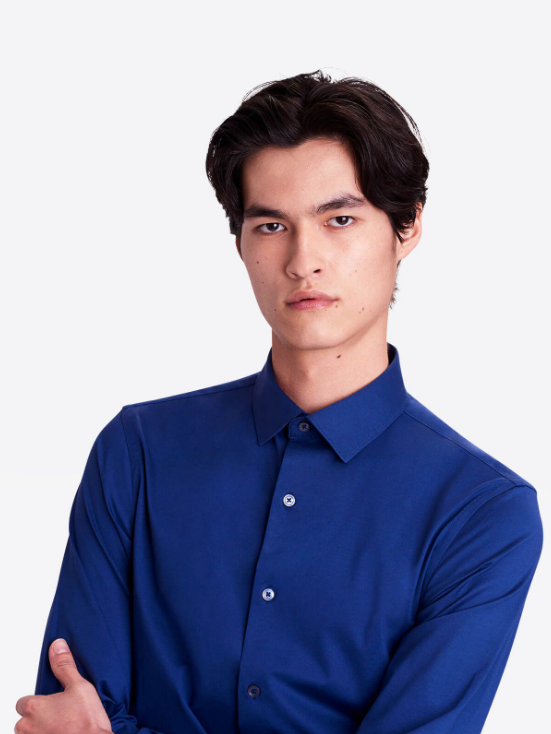 Bugatchi | OOOHCOTTON TECH LS SHIRT | Night Blue