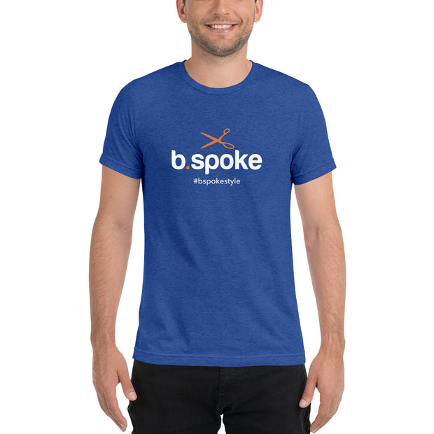 Super-Soft b.spoke logo w/hashtag w/ orange scissors t-shirt