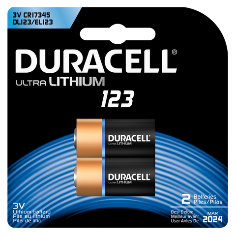 Duracell Lithium CR123 Battery (DL123) - 2pk