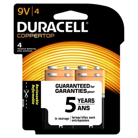Duracell Coppertop Alkaline 9V Battery (MN1604) - 4pk
