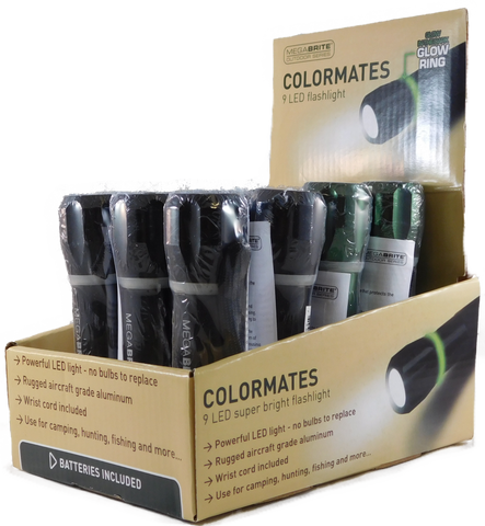 Megabrite Colormates LED Flashlight with Grow Ring - Tray Pack (bargain) (10-551POP-B)