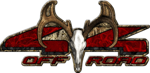 "8.75""x18"" 4x4 buck skull grassland high resolution truck bed or car side vinyl graphic decals."