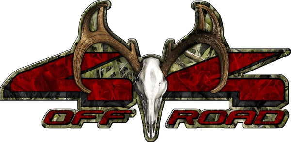 "7""x14"" 4x4 buck skull marshland high resolution truck bed or car side vinyl graphic decals."