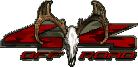 "8.75""x18"" 4x4 buck skull traditional green high resolution truck bed or car side vinyl graphic decals."