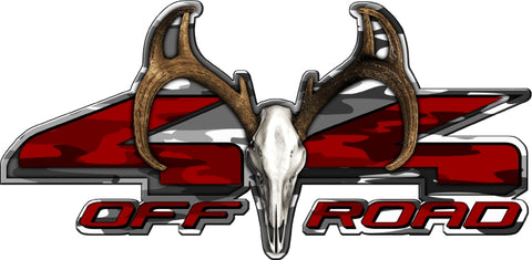 "8.75""x18"" 4x4 buck skull traditional urban high resolution truck bed or car side vinyl graphic decals."