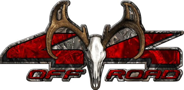 "8.75""x18"" 4x4 buck skull woodland ghost high resolution truck bed or car side vinyl graphic decals."