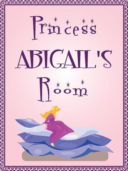 "Princess ABIGAIL room pink design 9""x12"" aluminum novelty girls room décor sign"