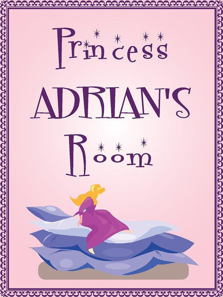 "Princess ADRIAN room pink design 9""x12"" aluminum novelty girls room décor sign"