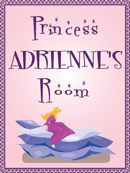 "Princess ADRIENNE room pink design 9""x12"" aluminum novelty girls room décor sign"