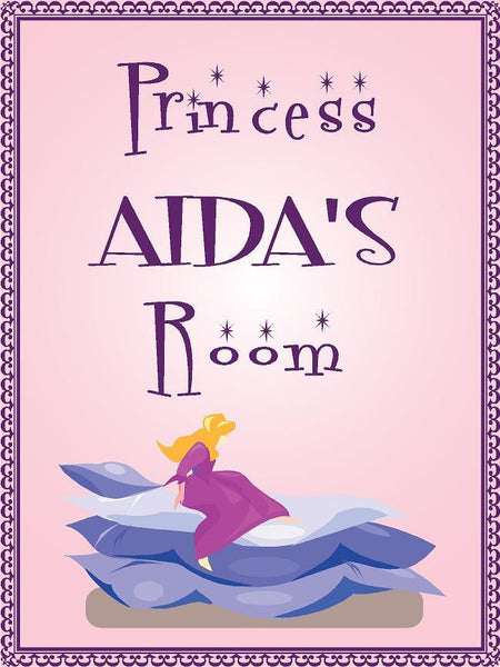 "Princess AIDA room pink design 9""x12"" aluminum novelty girls room décor sign"
