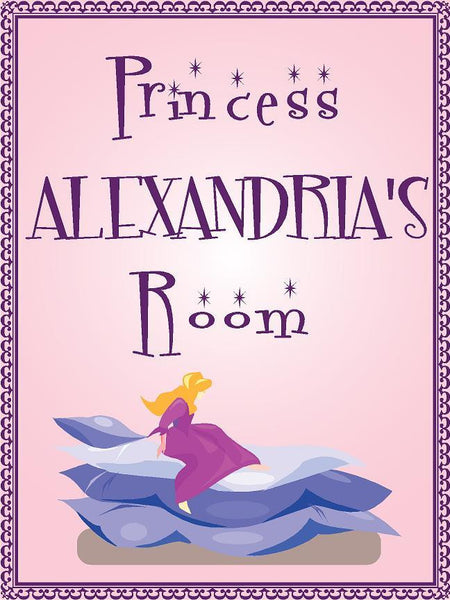 "Princess ALEXANDRIA room pink design 9""x12"" aluminum novelty girls room décor sign"