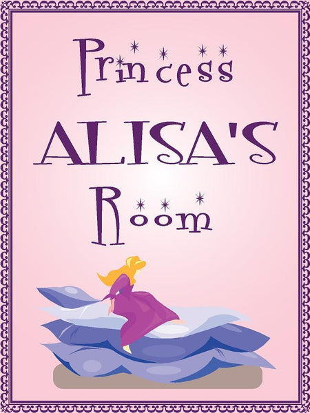 "Princess ALISA room pink design 9""x12"" aluminum novelty girls room décor sign"