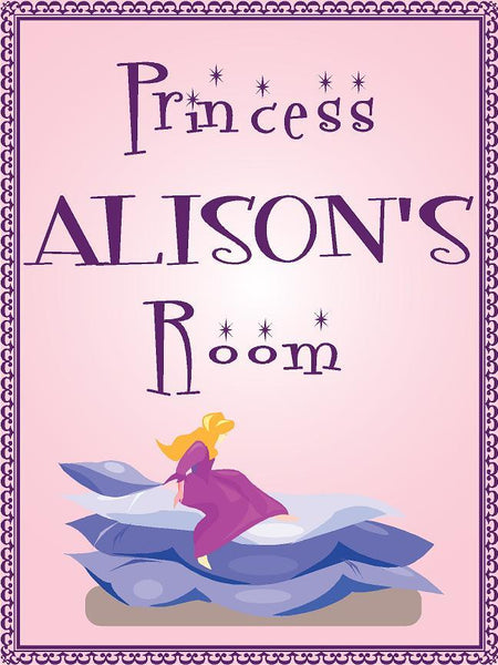 "Princess ALISON room pink design 9""x12"" aluminum novelty girls room décor sign"