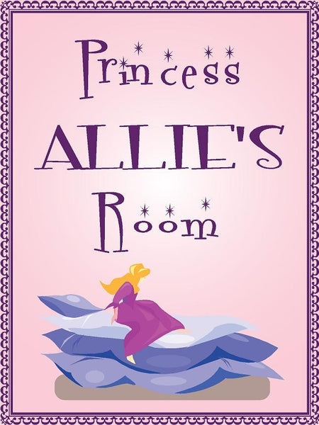 "Princess ALLIE room pink design 9""x12"" aluminum novelty girls room décor sign"