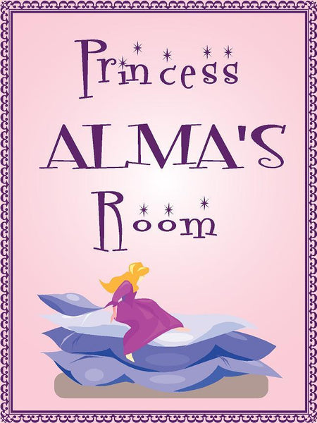 "Princess ALMA room pink design 9""x12"" aluminum novelty girls room décor sign"