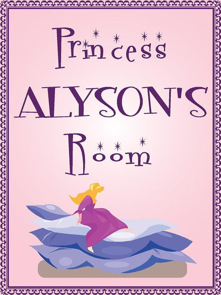 "Princess ALYSON room pink design 9""x12"" aluminum novelty girls room décor sign"