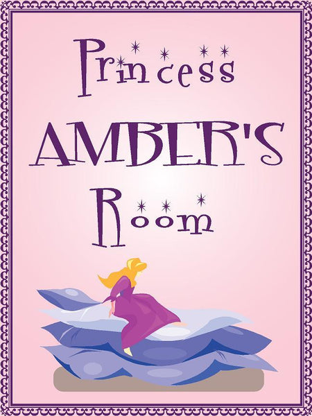 "Princess AMBER room pink design 9""x12"" aluminum novelty girls room décor sign"