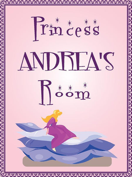 "Princess ANDREA room pink design 9""x12"" aluminum novelty girls room décor sign"