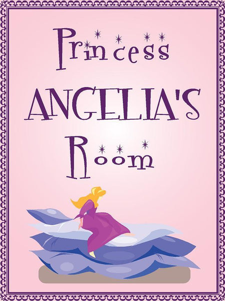 "Princess ANGELIA room pink design 9""x12"" aluminum novelty girls room décor sign"
