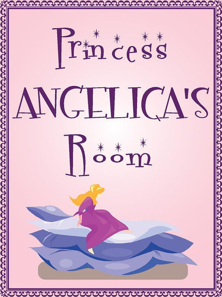 "Princess ANGELICA room pink design 9""x12"" aluminum novelty girls room décor sign"