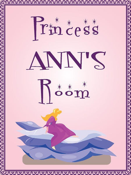 "Princess ANN room pink design 9""x12"" aluminum novelty girls room décor sign"
