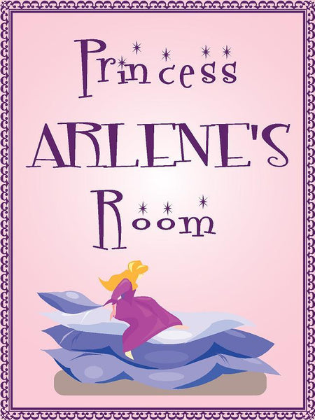"Princess ARLENE room pink design 9""x12"" aluminum novelty girls room décor sign"