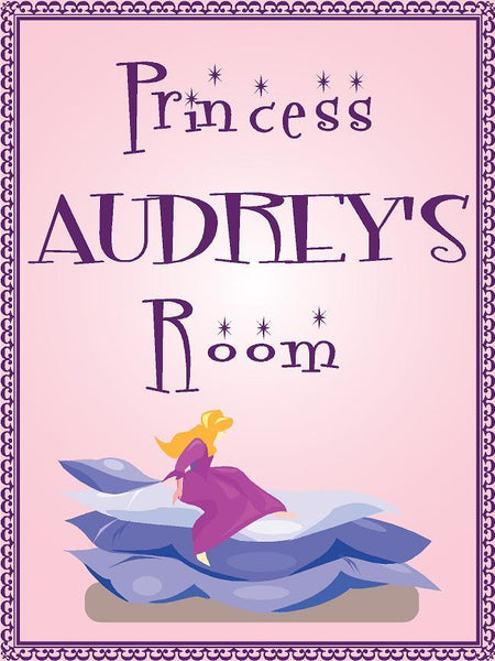"Princess AUDREY room pink design 9""x12"" aluminum novelty girls room décor sign"