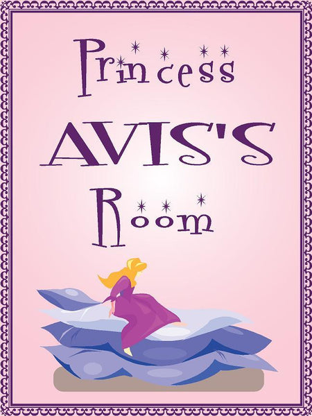 "Princess AVIS room pink design 9""x12"" aluminum novelty girls room décor sign"
