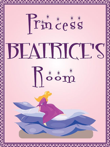 "Princess BEATRICE room pink design 9""x12"" aluminum novelty girls room décor sign"