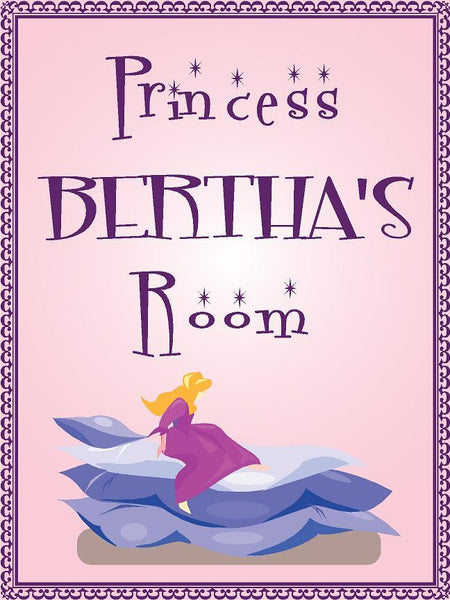 "Princess BERTHA room pink design 9""x12"" aluminum novelty girls room décor sign"