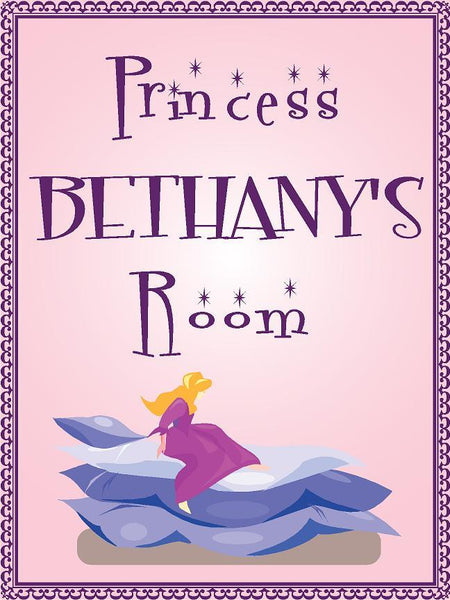 "Princess BETHANY room pink design 9""x12"" aluminum novelty girls room décor sign"