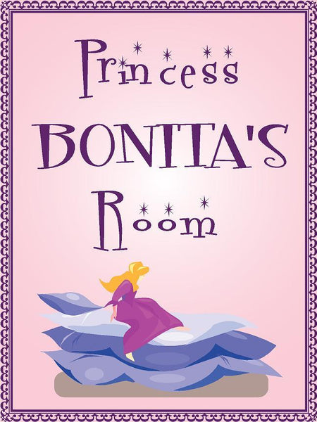 "Princess BONITA room pink design 9""x12"" aluminum novelty girls room décor sign"