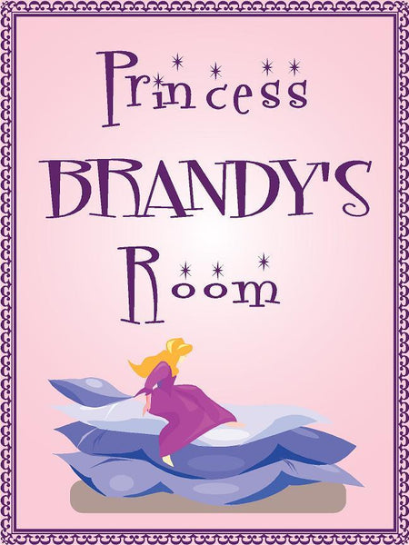 "Princess BRANDY room pink design 9""x12"" aluminum novelty girls room décor sign"