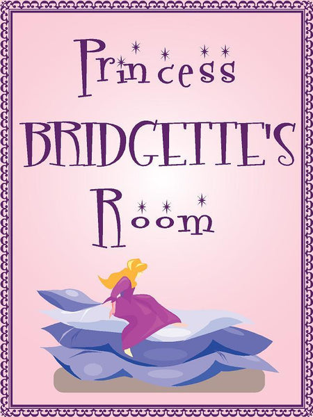 "Princess BRIDGETTE room pink design 9""x12"" aluminum novelty girls room décor sign"