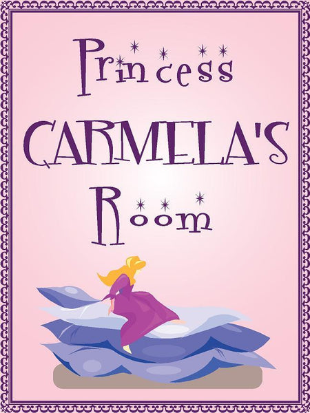 "Princess CARMELA room pink design 9""x12"" aluminum novelty girls room décor sign"