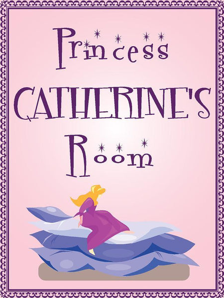 "Princess CATHERINE room pink design 9""x12"" aluminum novelty girls room décor sign"