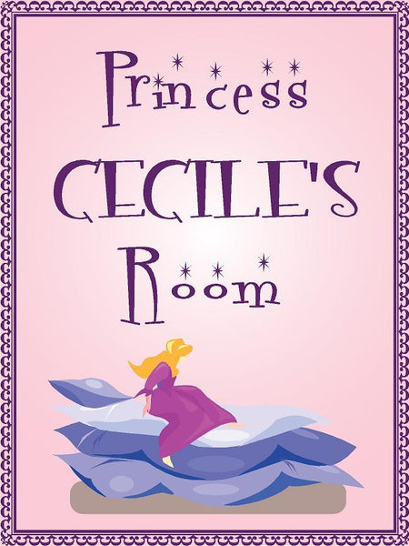 "Princess CECILE room pink design 9""x12"" aluminum novelty girls room décor sign"