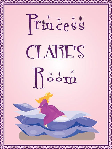 "Princess CLARE room pink design 9""x12"" aluminum novelty girls room décor sign"