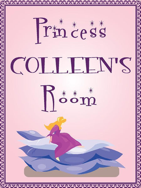 "Princess COLLEEN room pink design 9""x12"" aluminum novelty girls room décor sign"