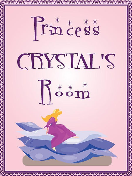 "Princess CRYSTAL room pink design 9""x12"" aluminum novelty girls room décor sign"