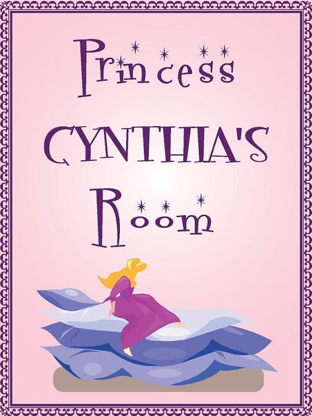 "Princess CYNTHIA room pink design 9""x12"" aluminum novelty girls room décor sign"