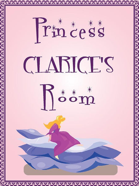 "Princess CLARICE room pink design 9""x12"" aluminum novelty girls room décor sign"