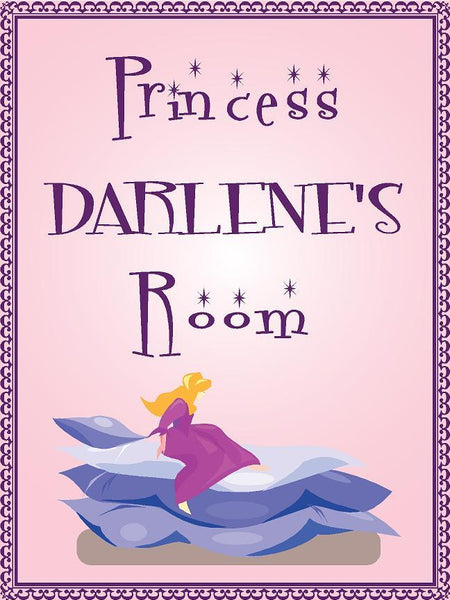 "Princess DARLENE room pink design 9""x12"" aluminum novelty girls room décor sign"
