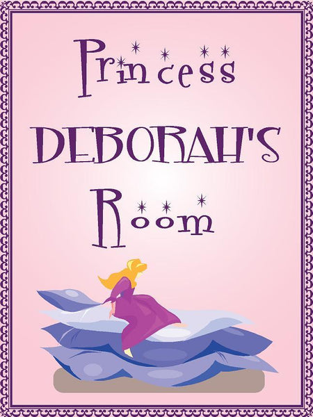 "Princess DEBORAH room pink design 9""x12"" aluminum novelty girls room décor sign"