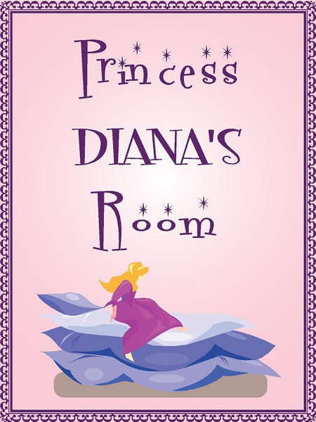 "Princess DIANA room pink design 9""x12"" aluminum novelty girls room décor sign"